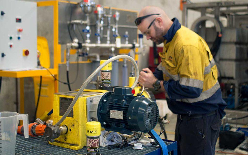 AFP technician refurbishing Milton Roy chemical metering pump. API 675 performance testing available.